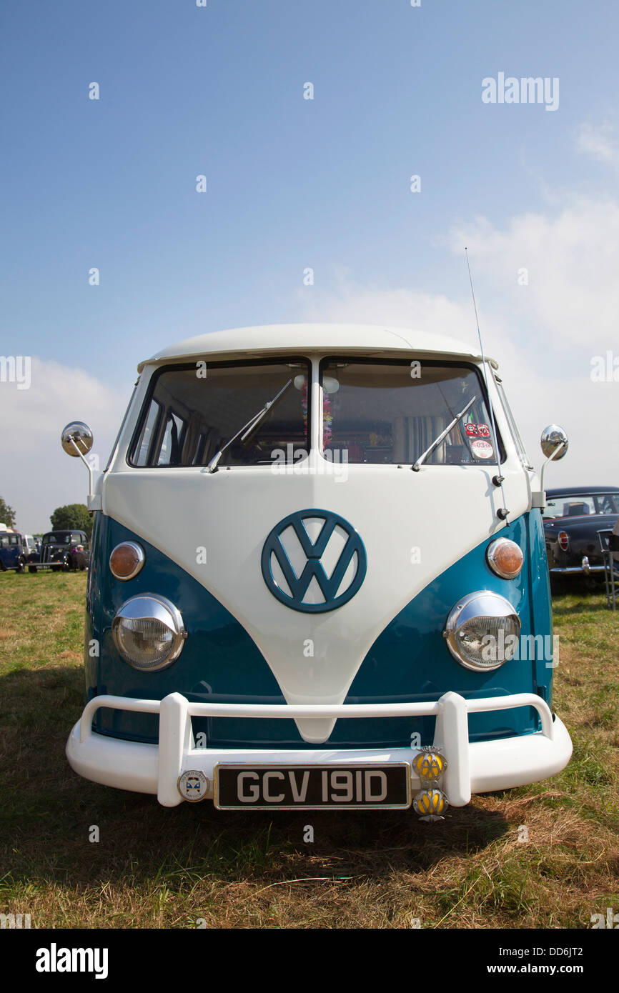 A VW campervan at a classic car vehicle show in the U.K. - Stock Image