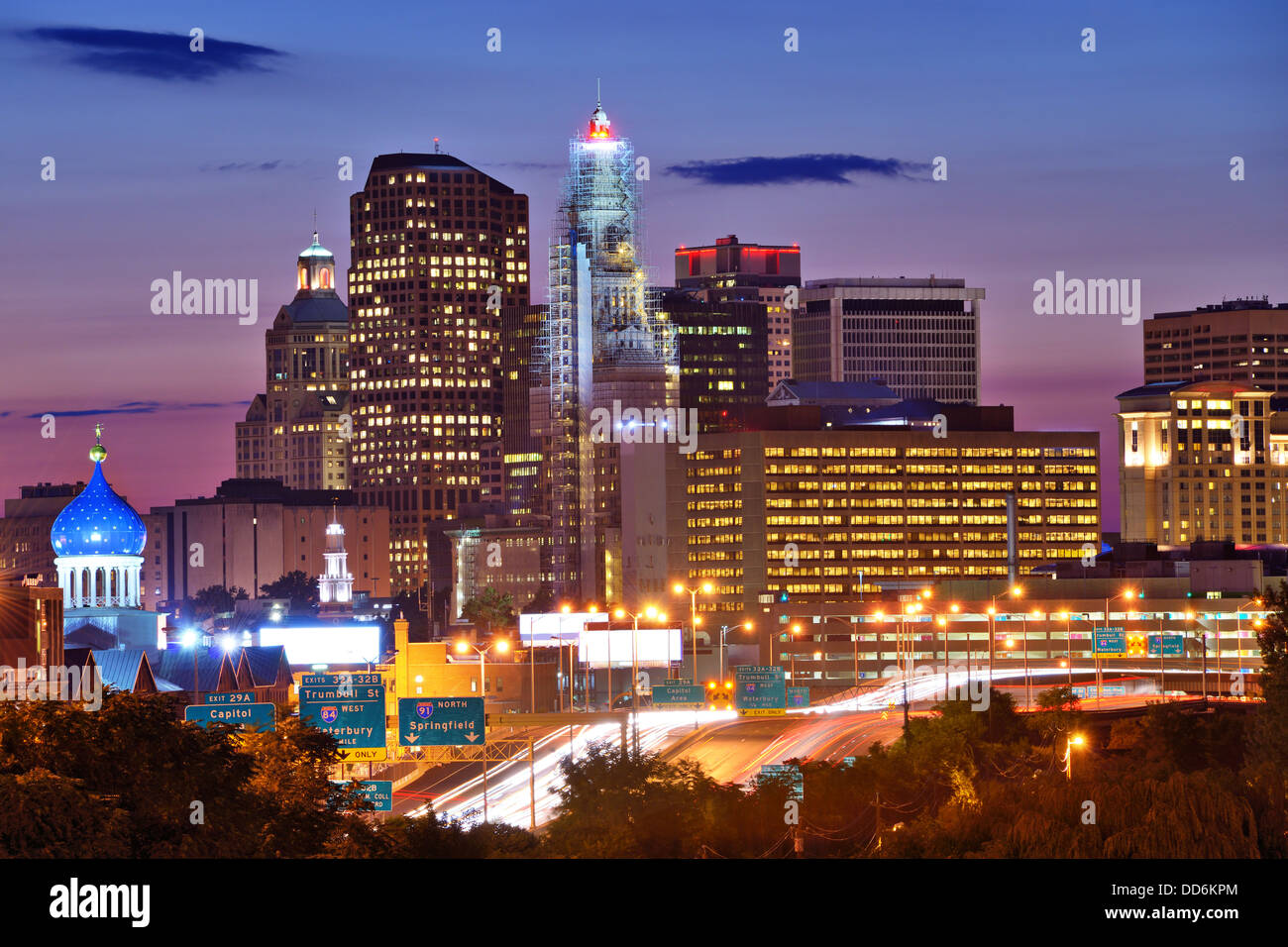 Skyline of downtown Hartford, Connecticut from above Charter Oak Landing. - Stock Image