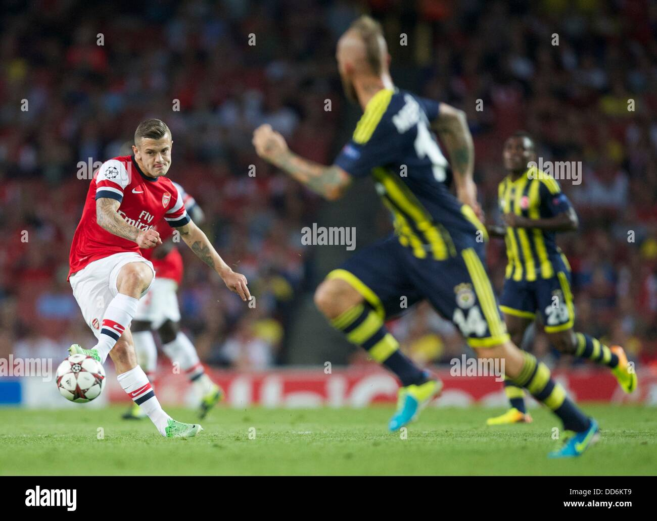 London, UK. 27th Aug, 2013. Jack Wilshere of Arsenal during the Champions League 2nd leg Qualifier between Arsenal - Stock Image