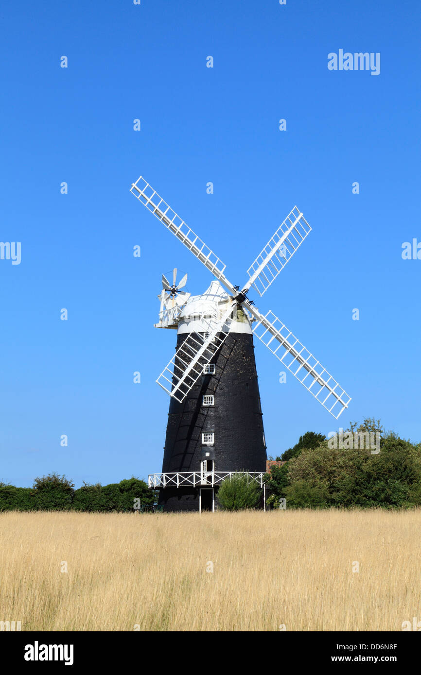 Burnham Overy windmill, tower and cap mill, 1816, Norfolk England UK English painted brick towered windmills Stock Photo