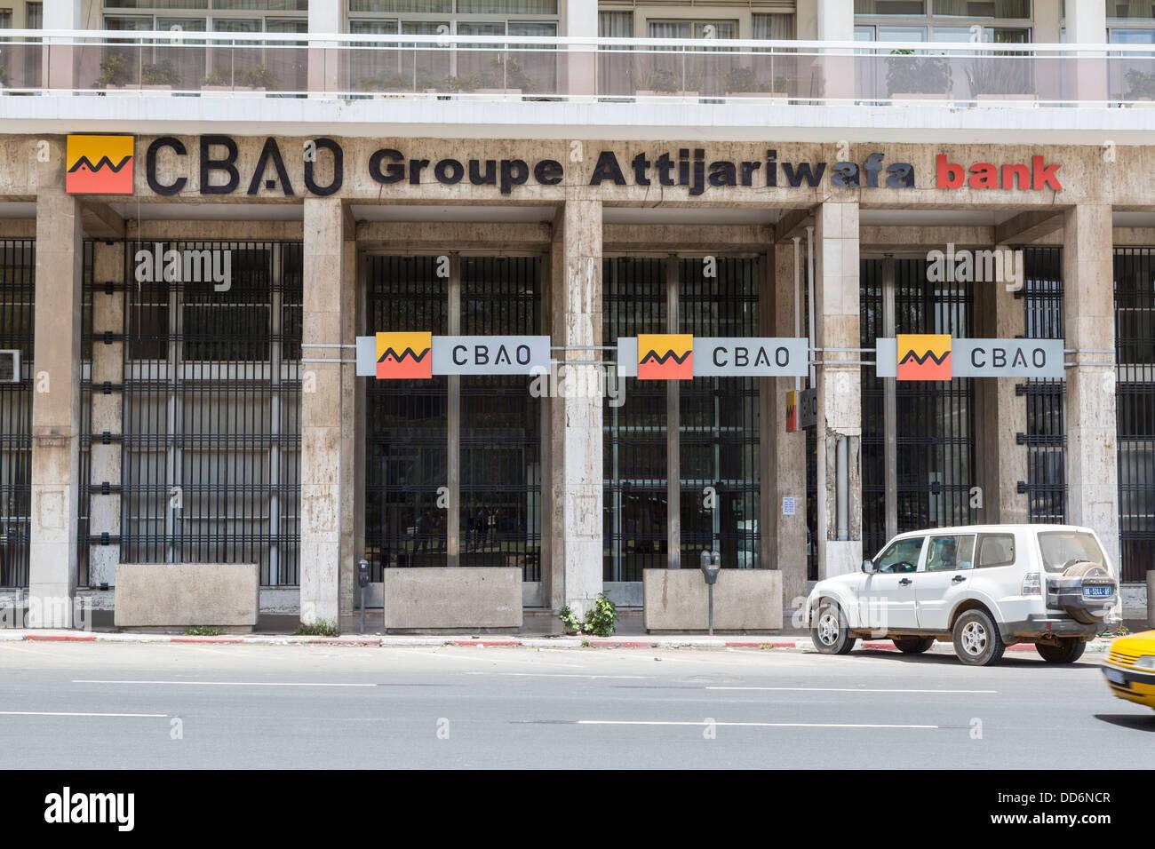 Dakar, Senegal. CBAO Bank, Banking Company of West Africa (Compagnie Bancaire de l'Afrique Occidentale). - Stock Image