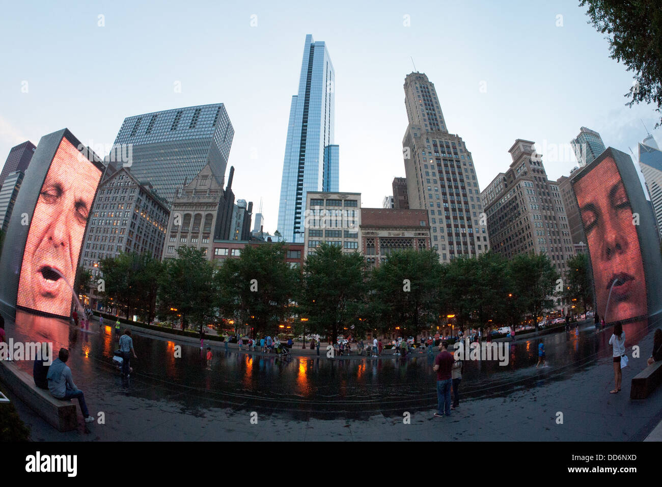 A fisheye image of the Crown Fountain (in Millennium Park), Chicago's beloved public work of video art, at dusk. - Stock Image