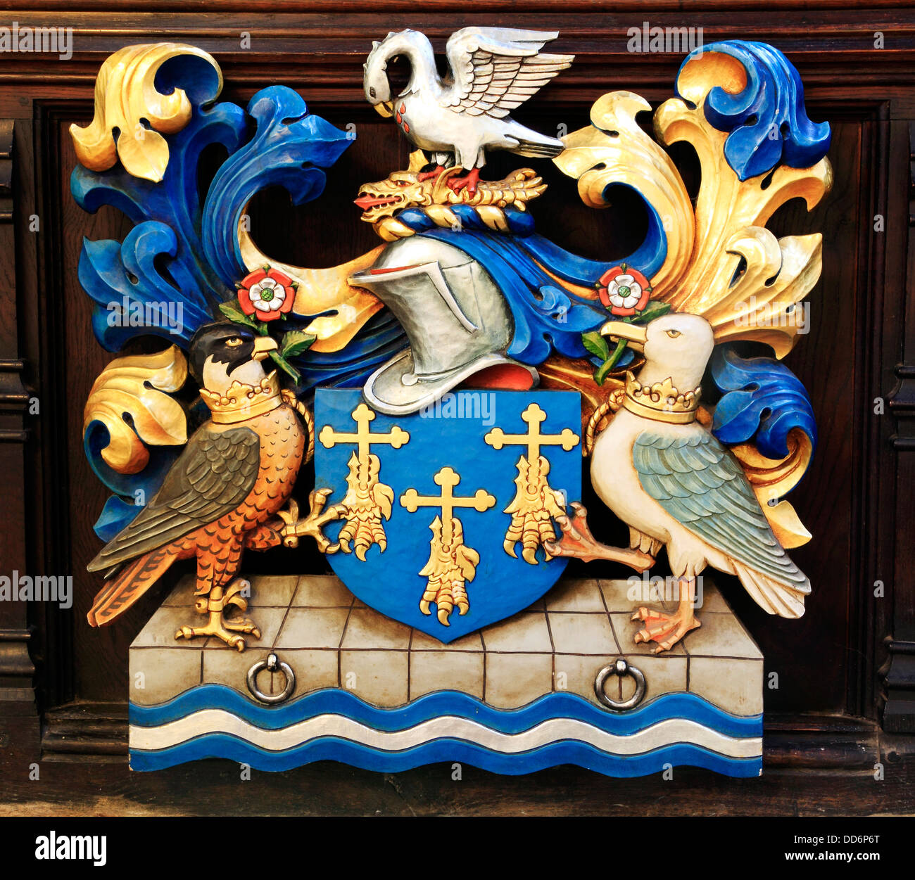 Kings Lynn, Town Coat of Arms, Norfolk, St Margarets Church, wooden panel, Norfolk, England English towns coats - Stock Image