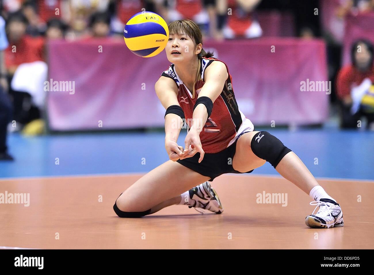 Saori Kimura (JPN), AUGUST 18, 2013 - Volleyball : 2013 FIVB World Grand Prix, Preliminary Round Week 3 Pool M match Japan 3-2 Czech Republic at Sendai Gymnasium in Sendai, Miyagi, Japan. (Photo by Ryu Makino/AFLO) Stock Photo