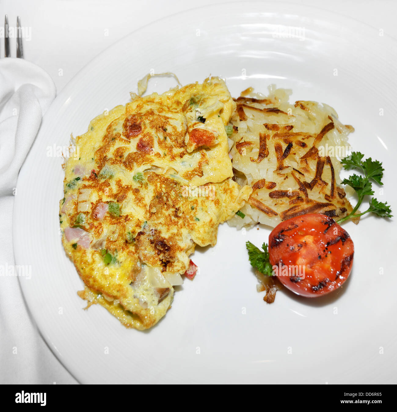 Omelet With Vegetables And Bacon,Top View - Stock Image