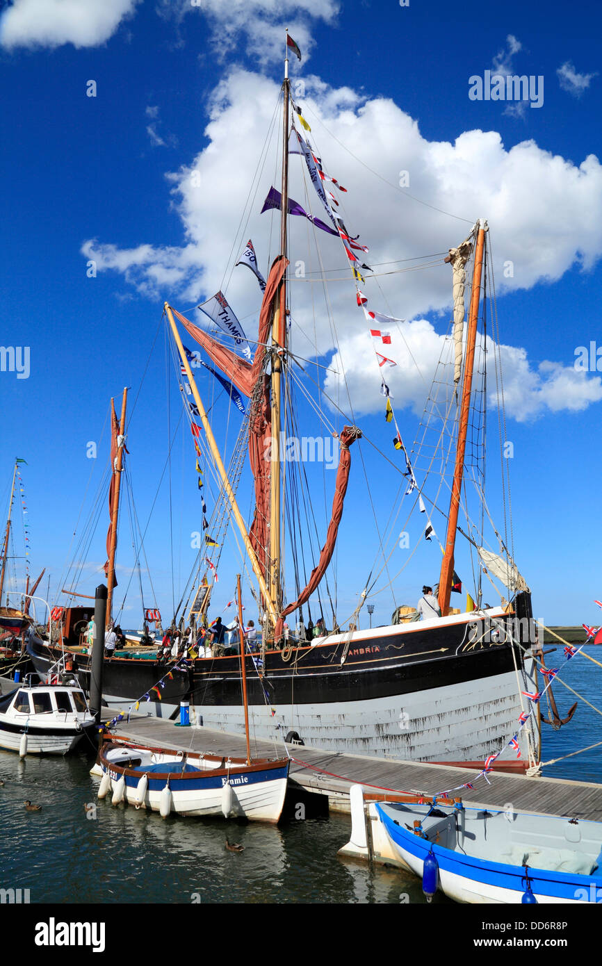 Thames sailing Barge 'Cambria', Wells Harbour Day, Norfolk, England UK quay quayside coast coastal town - Stock Image