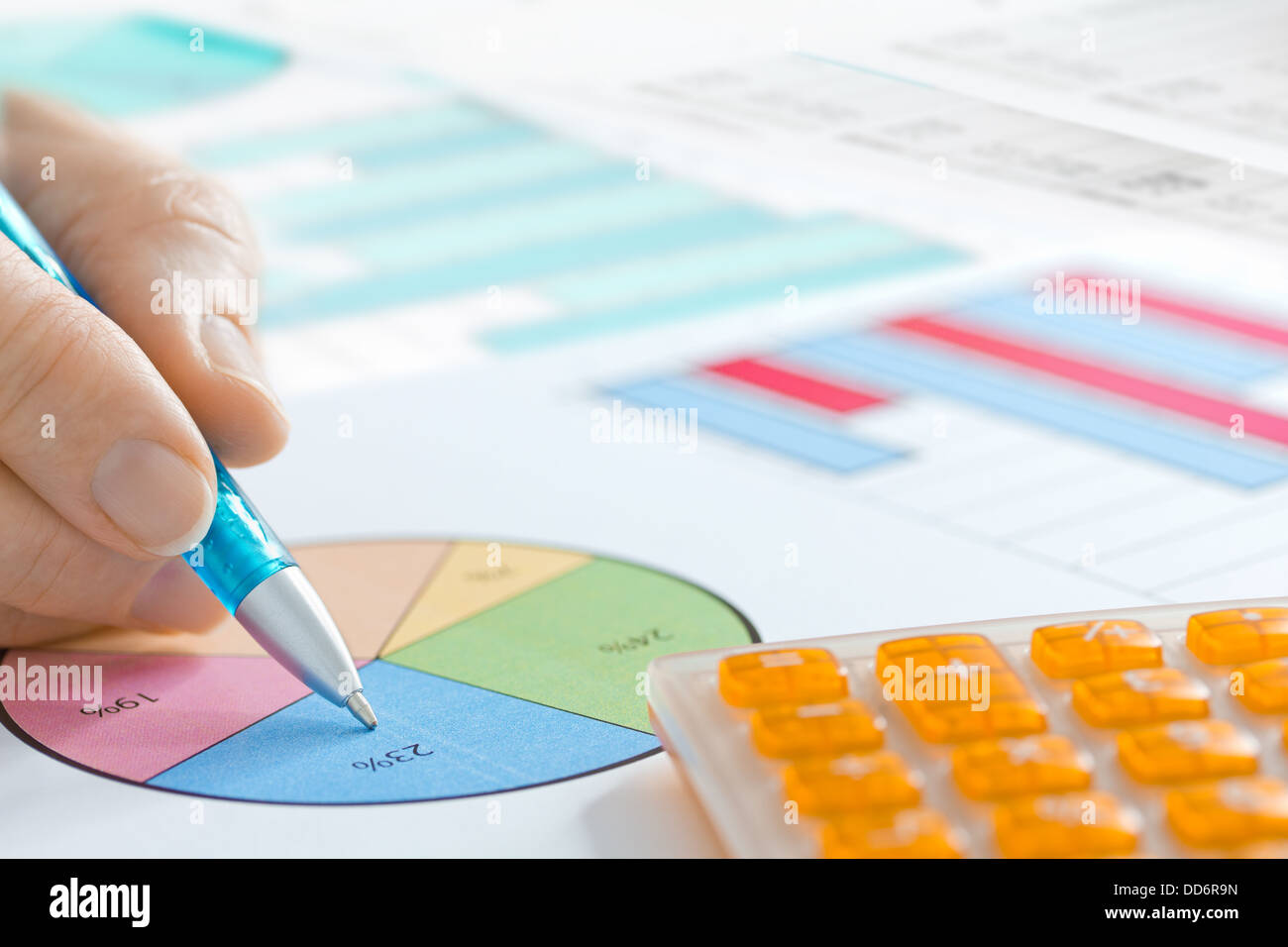 Hand with  Pen and Calculator Analyzing Piechart - Stock Image