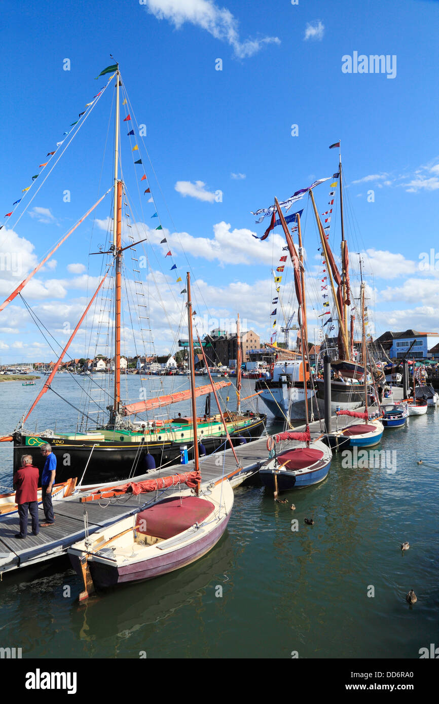 Wells next the Sea Harbour Day, Norfolk, England UK English harbours coast coastal town towns, boats - Stock Image