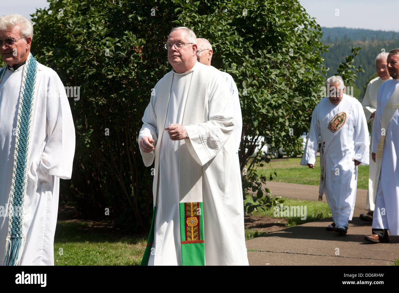 Jesuit Priests walk to the start of the feast of assumption at Cataldo, Idaho on August 15, 2013. - Stock Image