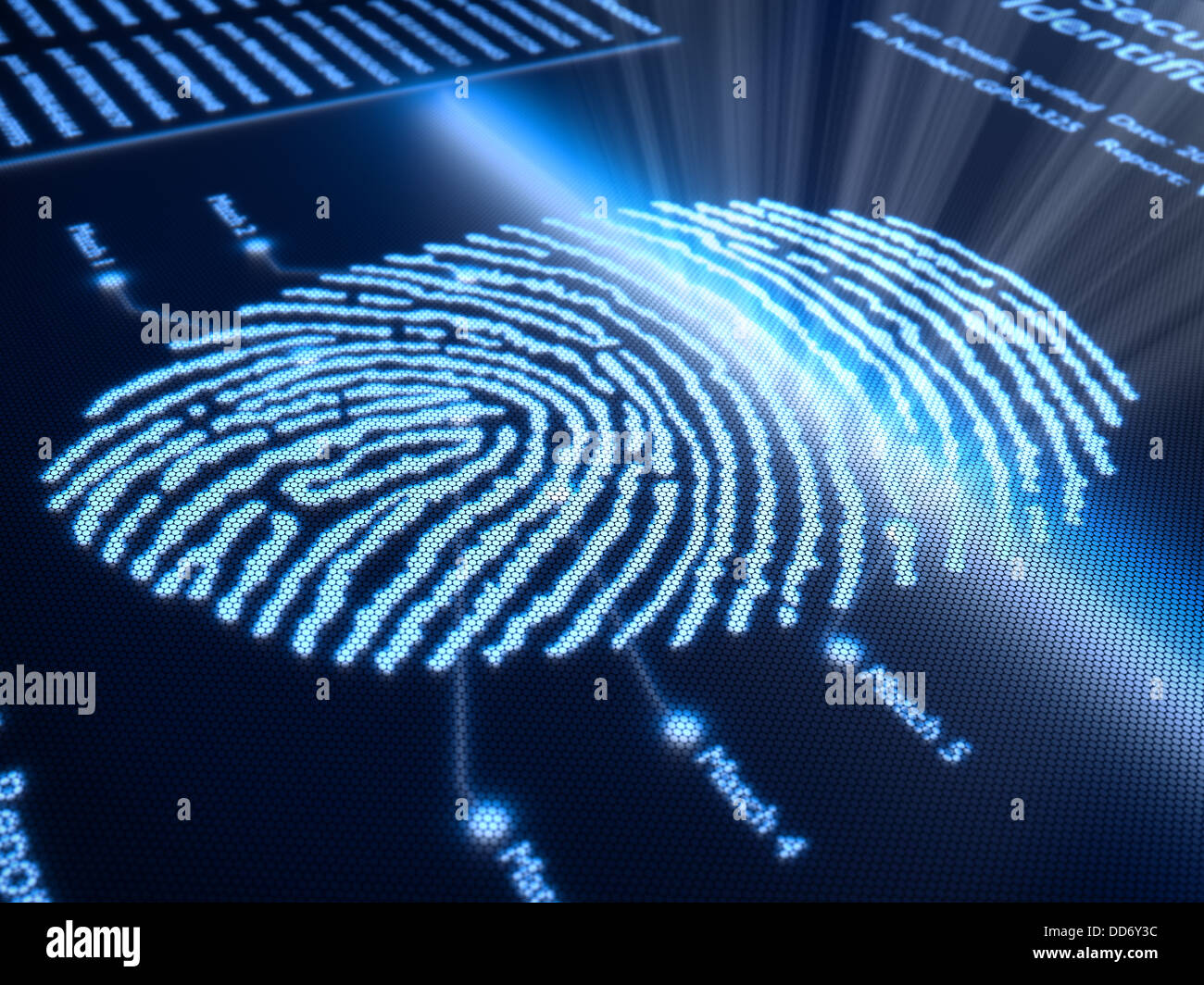 Fingerprint scanning technology on pixellated screen - 3d rendered with slight DOF - Stock Image