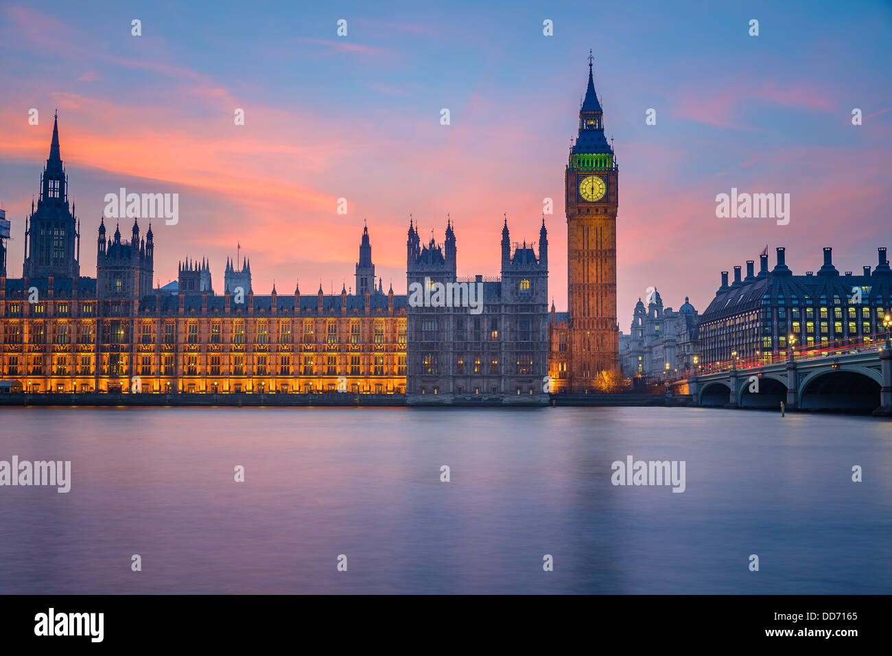 Houses of parliament at night, London - Stock Image