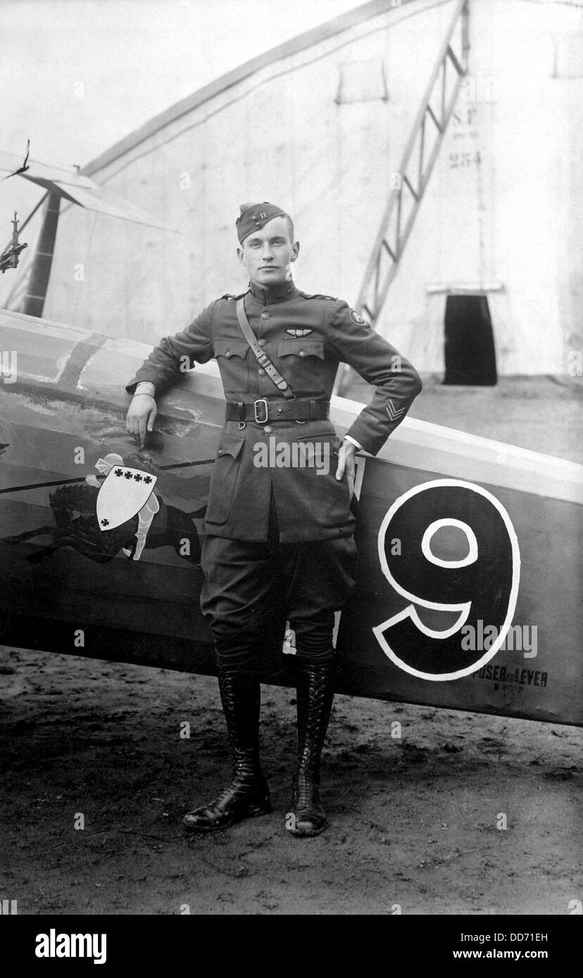 American World War I pilot of the 91st Aero Squadron, France. Feb. 1919. - Stock Image