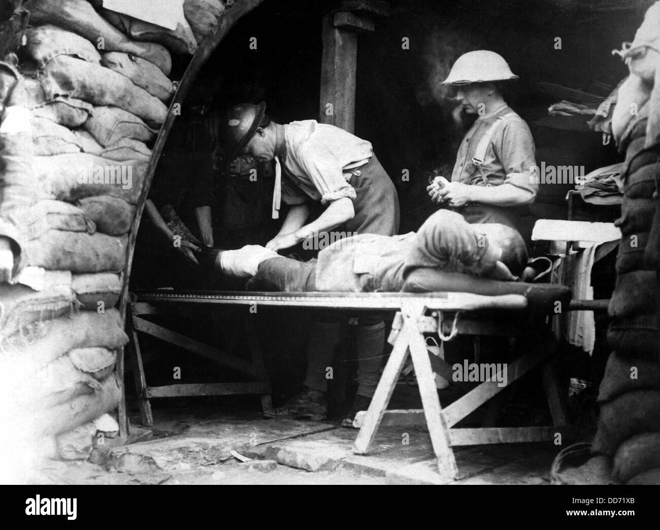 Scottish territorials being examined in a dressing station during Battle of Menin Road in Belgium. World War I, - Stock Image