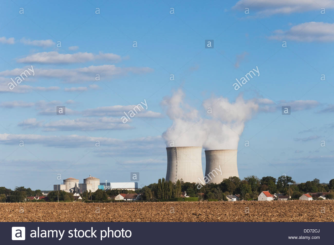 France, View of Nuclear Power Plant - Stock Image