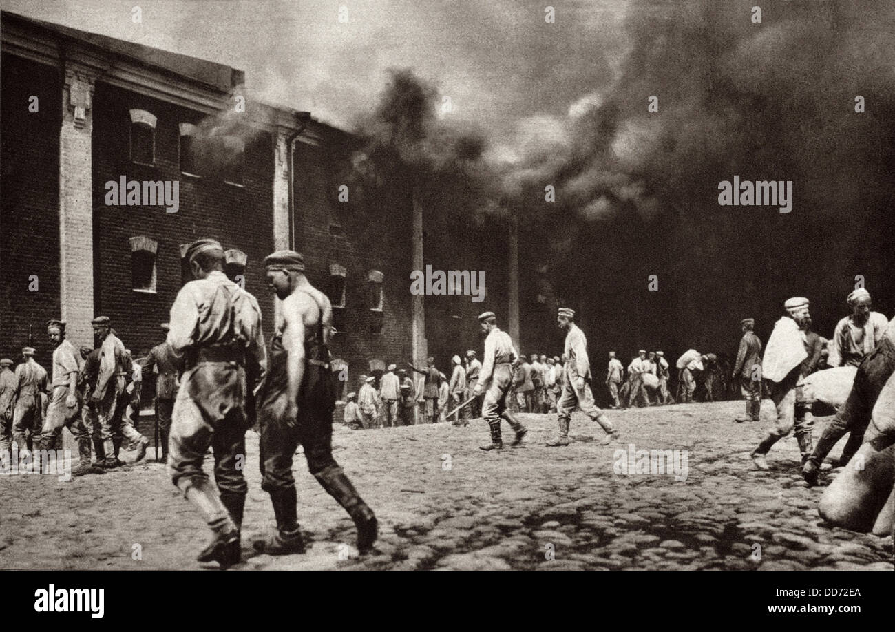 World War 1. The citadel of Brest-Litovsk in flames after the town was captured by the Germans in late August/early - Stock Image
