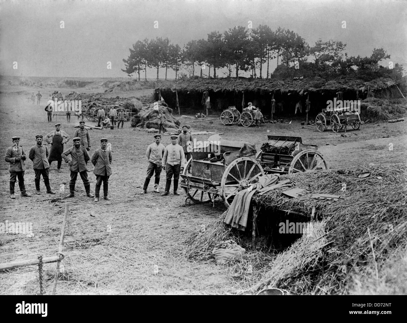 World War 1. Shelters behind German battlefront. Soldiers were allowed rest behind the battle lines after they served - Stock Image