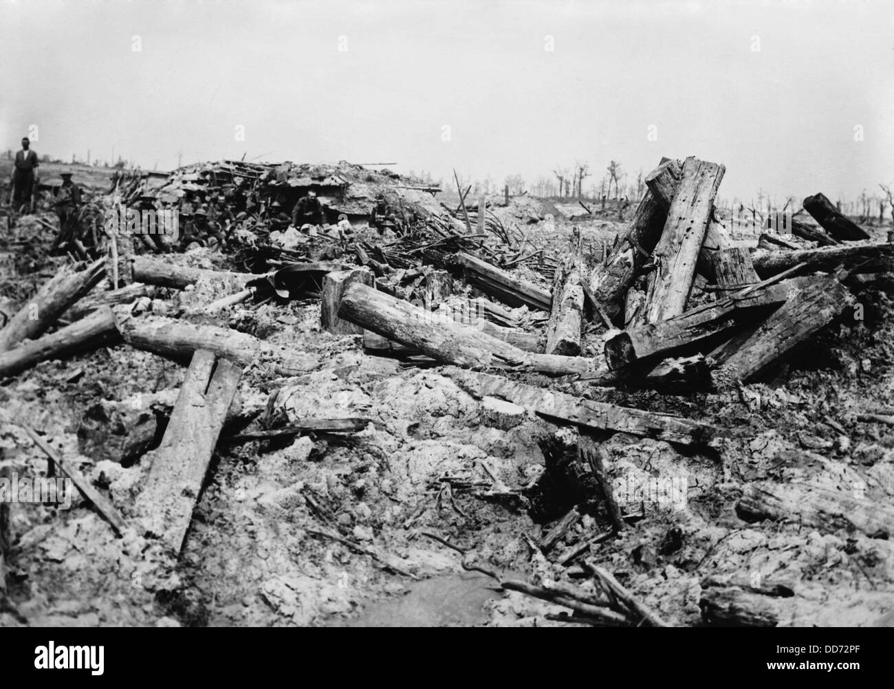 World War 1. German trenches churned by British artillery shells. Big guns and massive shells turned the battlefields - Stock Image