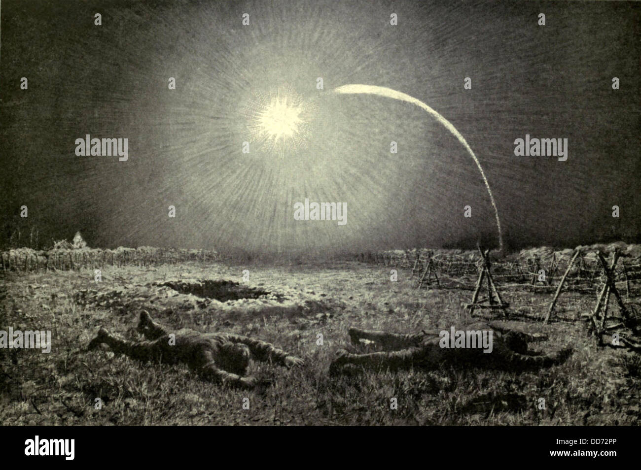 Land Trench Stock Photos Images Alamy Ww1 Trenches Diagram Pits Behind The World War 1 Both Sides Launched Flares Between At Regular Intervals To Illuminate