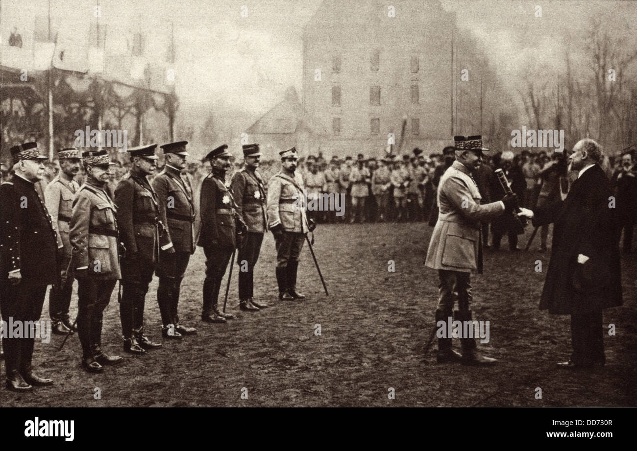 General Henri Petain being presented with the Marshall's Baton on Nov. 19, 1918, in the presence of a distinguished - Stock Image