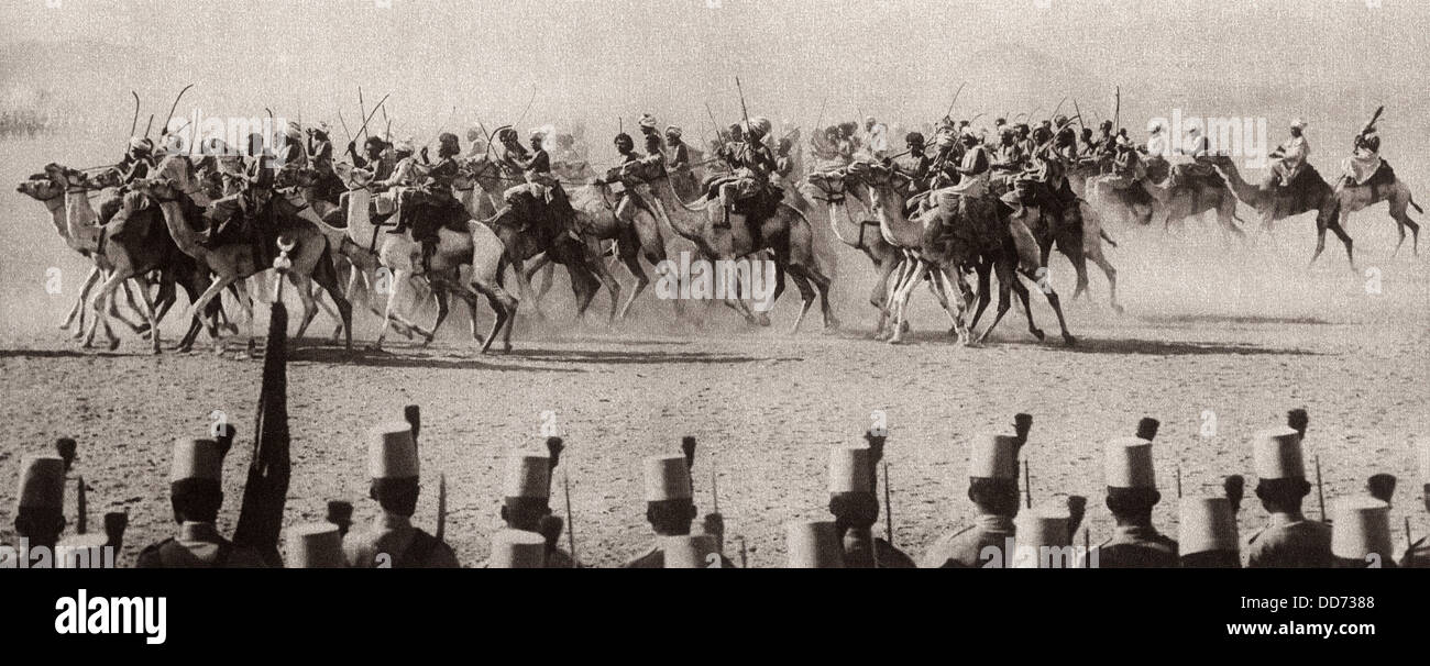 Egyptian Camel Corps fought with British during World War 1. 1914. When the Turkish Viceroy, the Khedive of Egypt, - Stock Image
