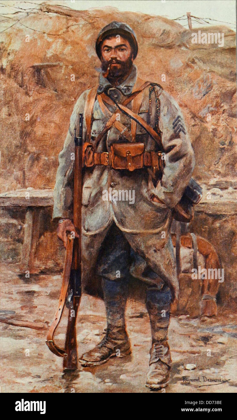 'Le Poilu,' World War 1 painting by Raymiend Desvarieux. 1915-18. Le Poilu translates literally to 'hairy - Stock Image