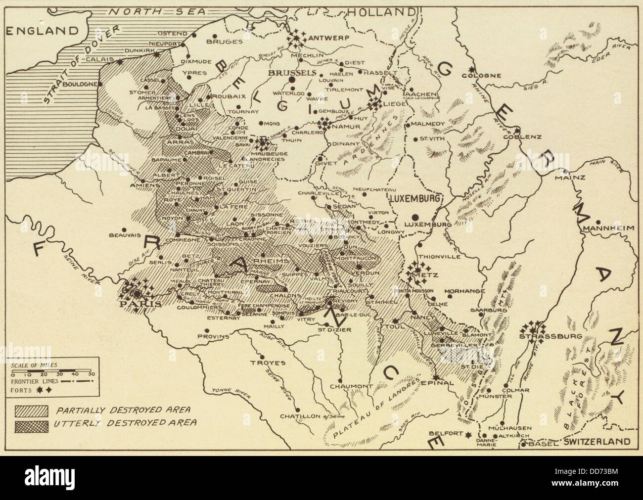 Post World War 1 map of the ruined regions of France in 1919. (BSLOC ...