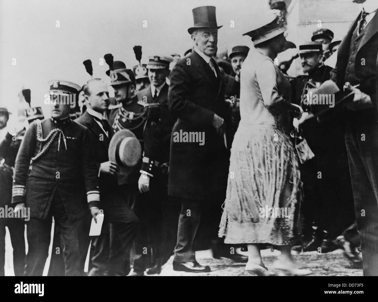 President Wilson at Versailles to sign of the Peace Treaty. July 1919. He is accompanied by his wife, Edith Bolling - Stock Image
