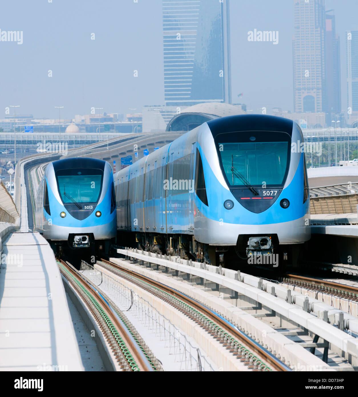 View of Metro railway  trains in Dubai United Arab Emirates - Stock Image
