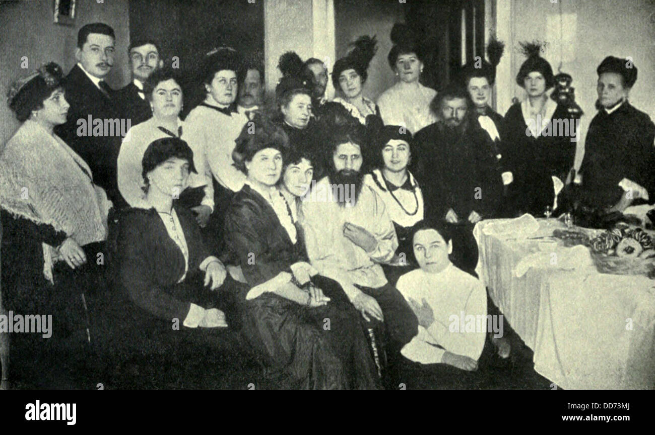 Rasputin, the favorite of the Russian Empress, with women admirers, 1914. This mystic holy man Grigory Yefimovich - Stock Image