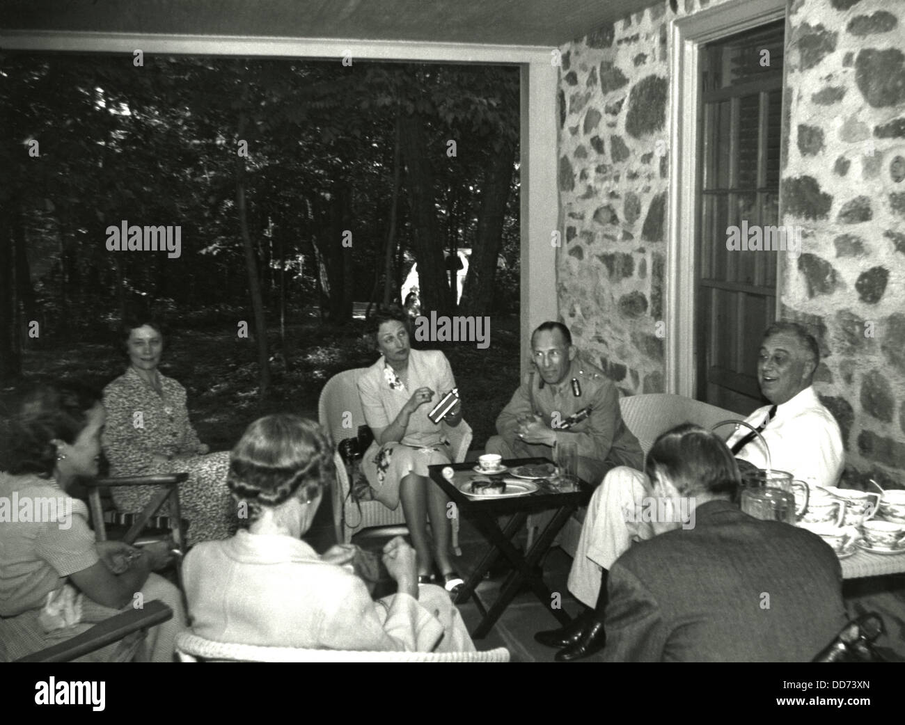 FDR entertains exiled Crown Princess Martha of Norway and King George II of Greece at Top Cottage. Also pictured - Stock Image