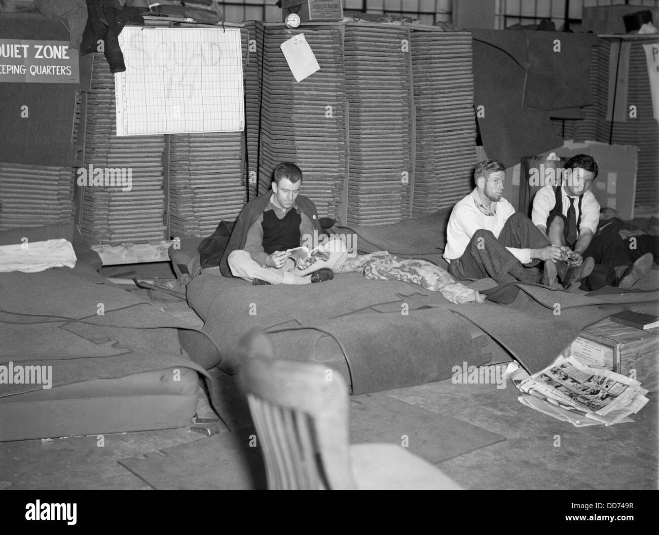 Sit-down strikers in the General Motors Fisher body plant in Flint, Michigan. 1933. Sleeping quarters for striking Stock Photo