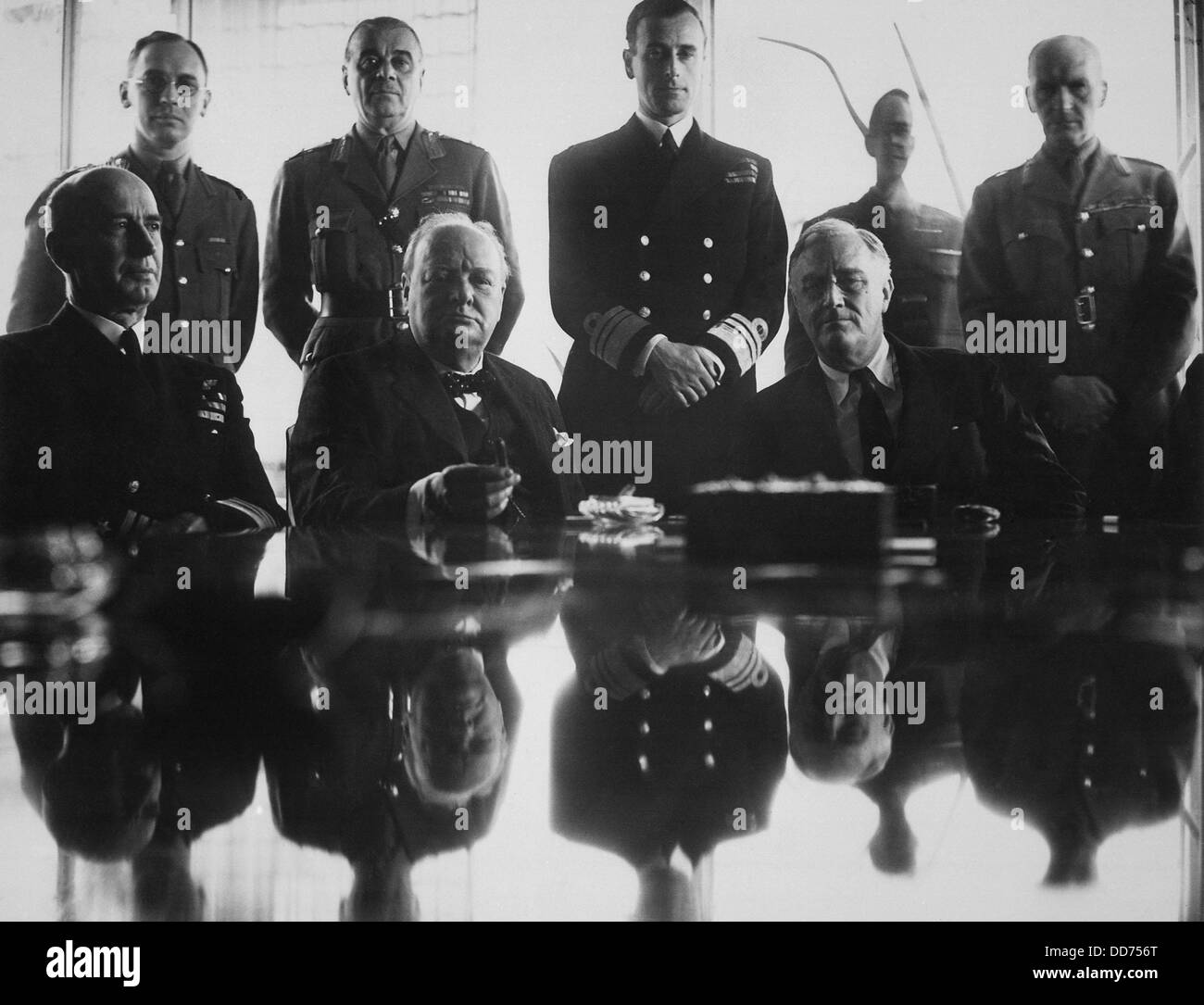 WW2 Allies at the Casablanca Conference. Jan. 14-24, 1943. Seated, L-R: Adm. E. J. King; PM Winston Churchill; President Stock Photo