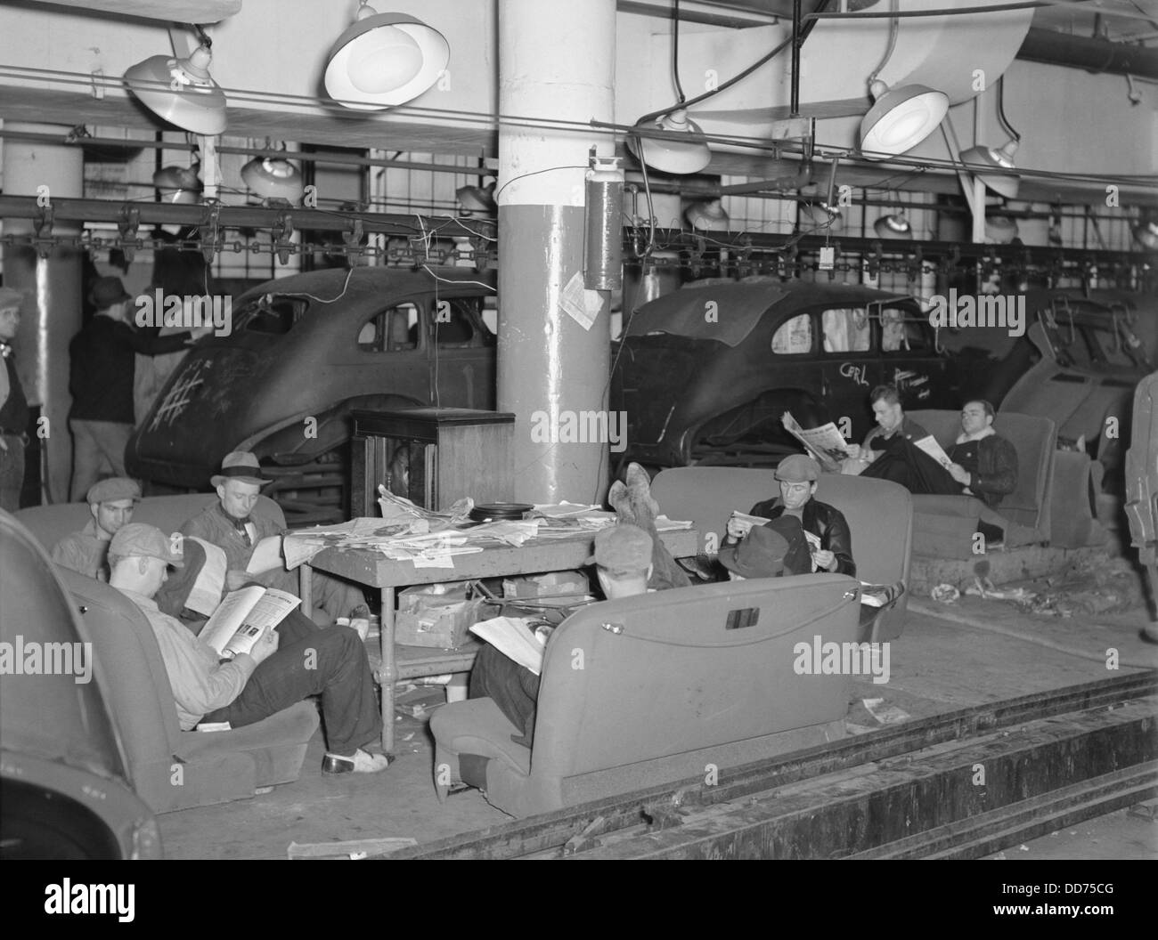 Sit-down strikers in the General Motors Fisher body factory #3 in Flint, Michigan. 1933. The United Automobile Workers - Stock Image