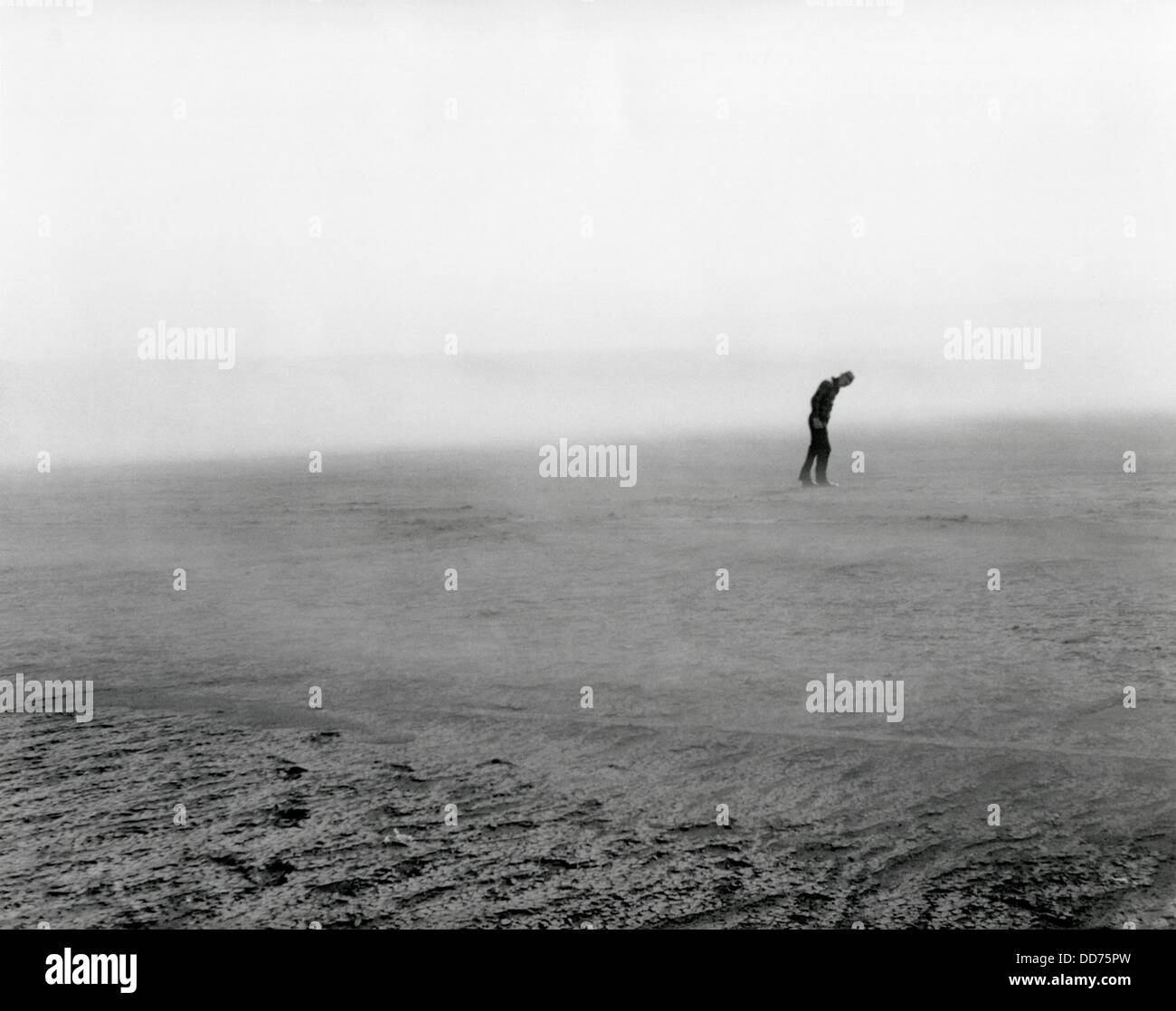 Native pasture land blowing in Dixon, South Dakota, May 1936. Figure in the distance in bent forward to resist the - Stock Image