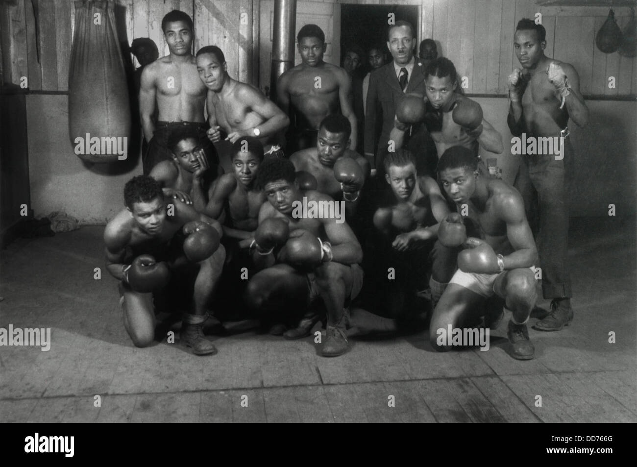 CCC Boxing team of Company 2603, Danville, Illinois, 1936-39. They were in a segregated African American Civilian - Stock Image