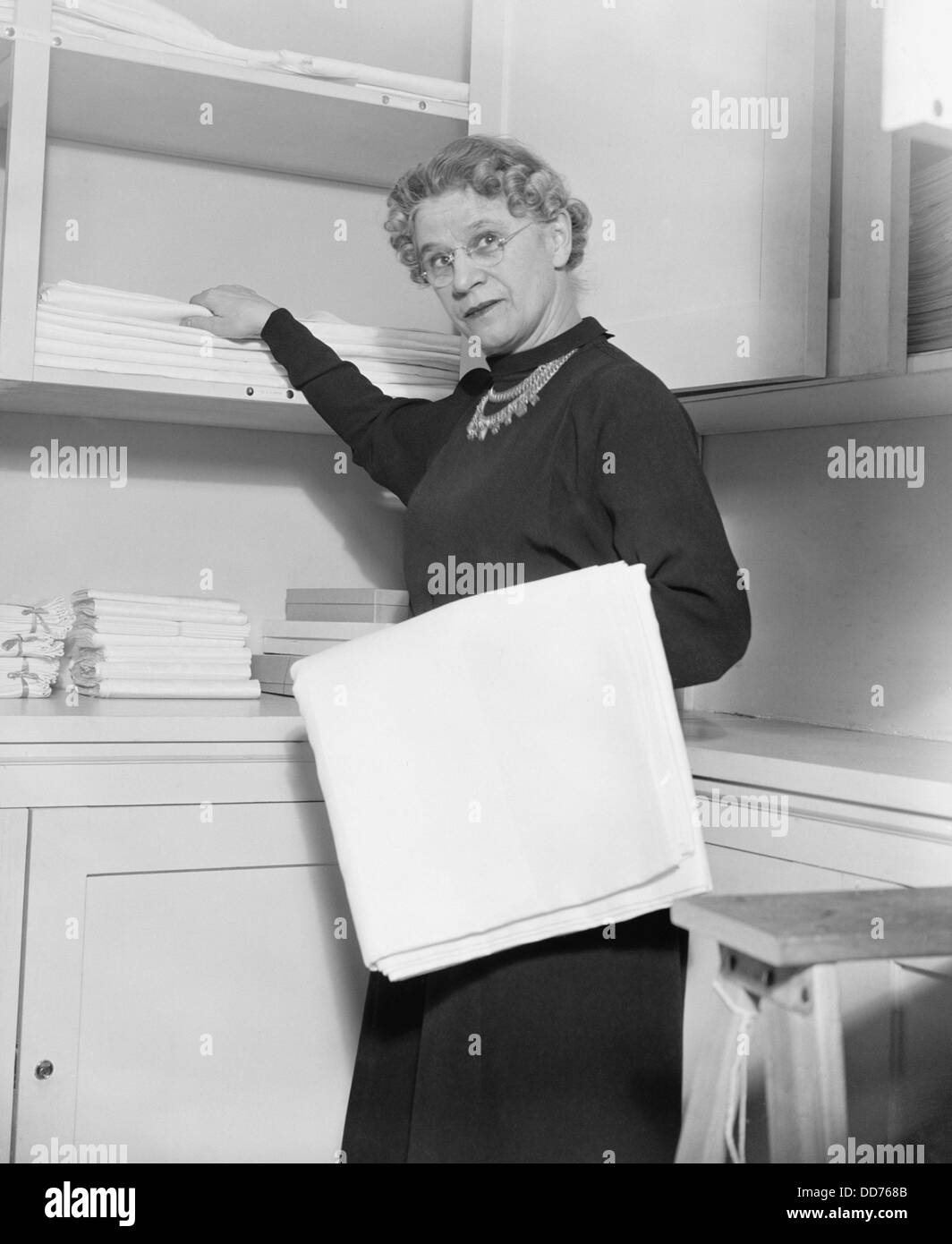 Henrietta Nesbitt, housekeeper for the FDR White House. Her severe economy and lack of culinary skills resulted - Stock Image