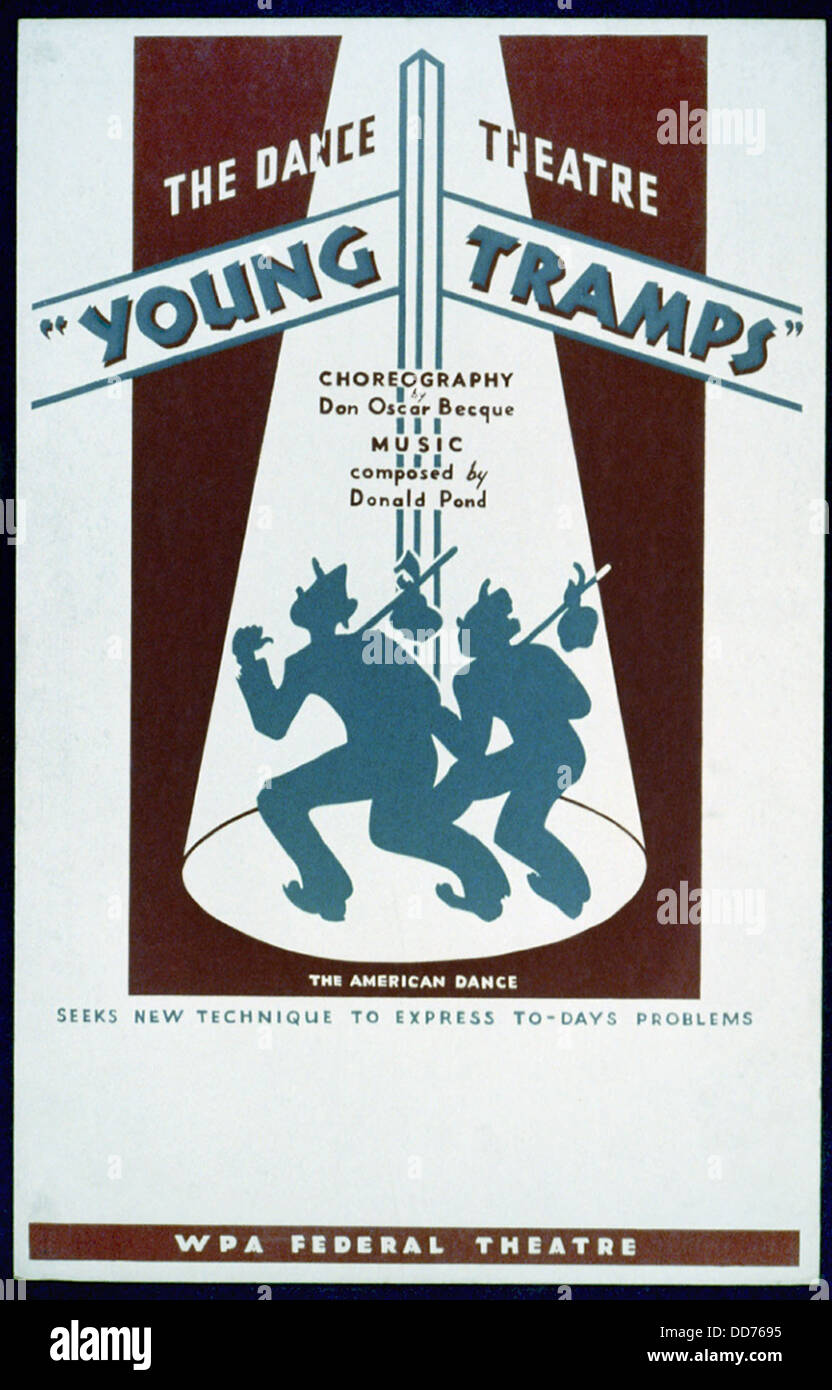 Poster for WPA Federal Theater Project, 'Young Tramps' 1936-37. (BSLOC_2013_7_95) - Stock Image