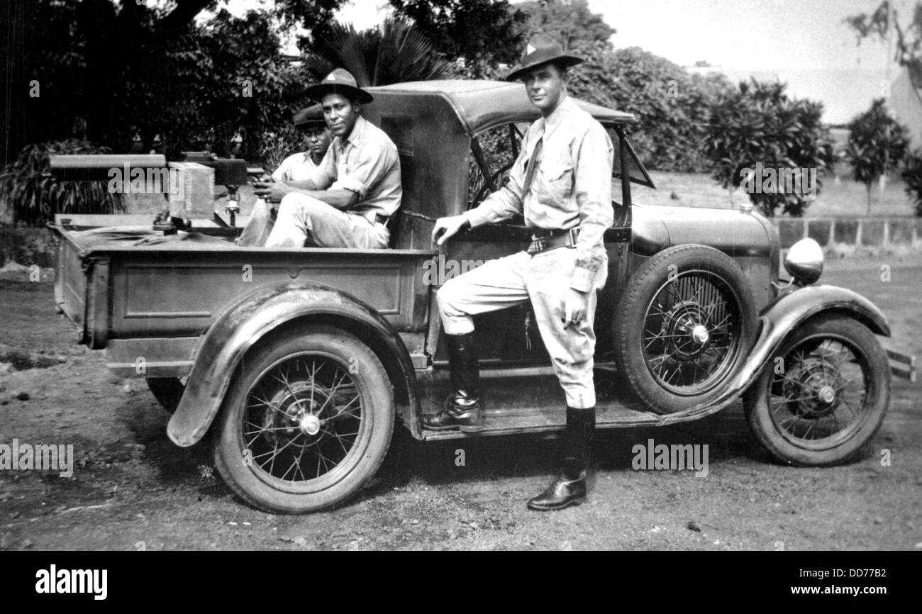 U.S. Marines in Nicaragua in 1932. Heavy Browning Machine Gun is mounted on a car in preparation for U.S. Supervision - Stock Image
