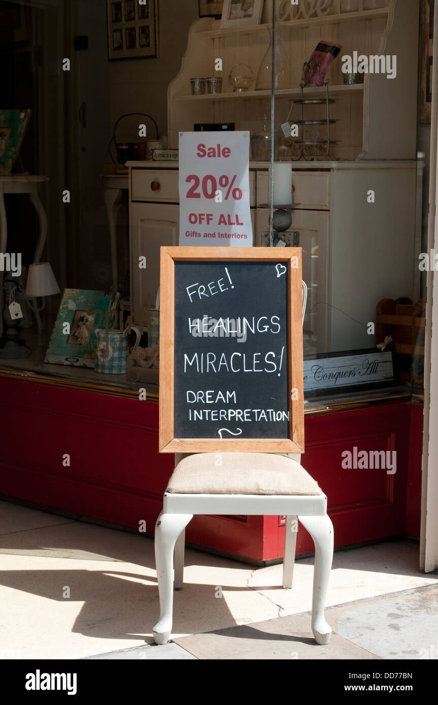 New Age shop 'Spirit' advertises Free Healing miracles, Chester, UK - Stock Image