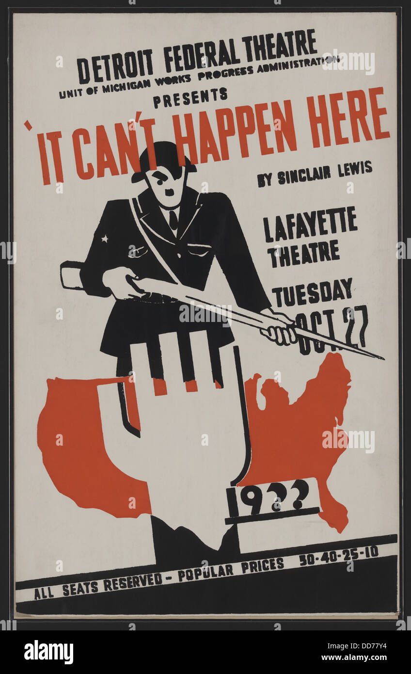 Poster for WPA Federal Theater Project, 'It Can't Happen Here'. Based on Sinclair Lewis's novel, - Stock Image