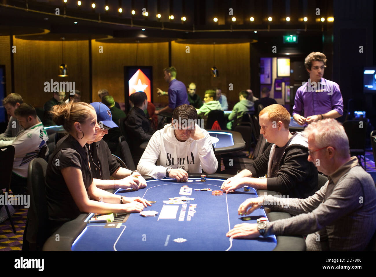 PokerStars poker room at the Hippodrome Casino bringing 24-hour poker to London, Leicester Square, London, UK - Stock Image