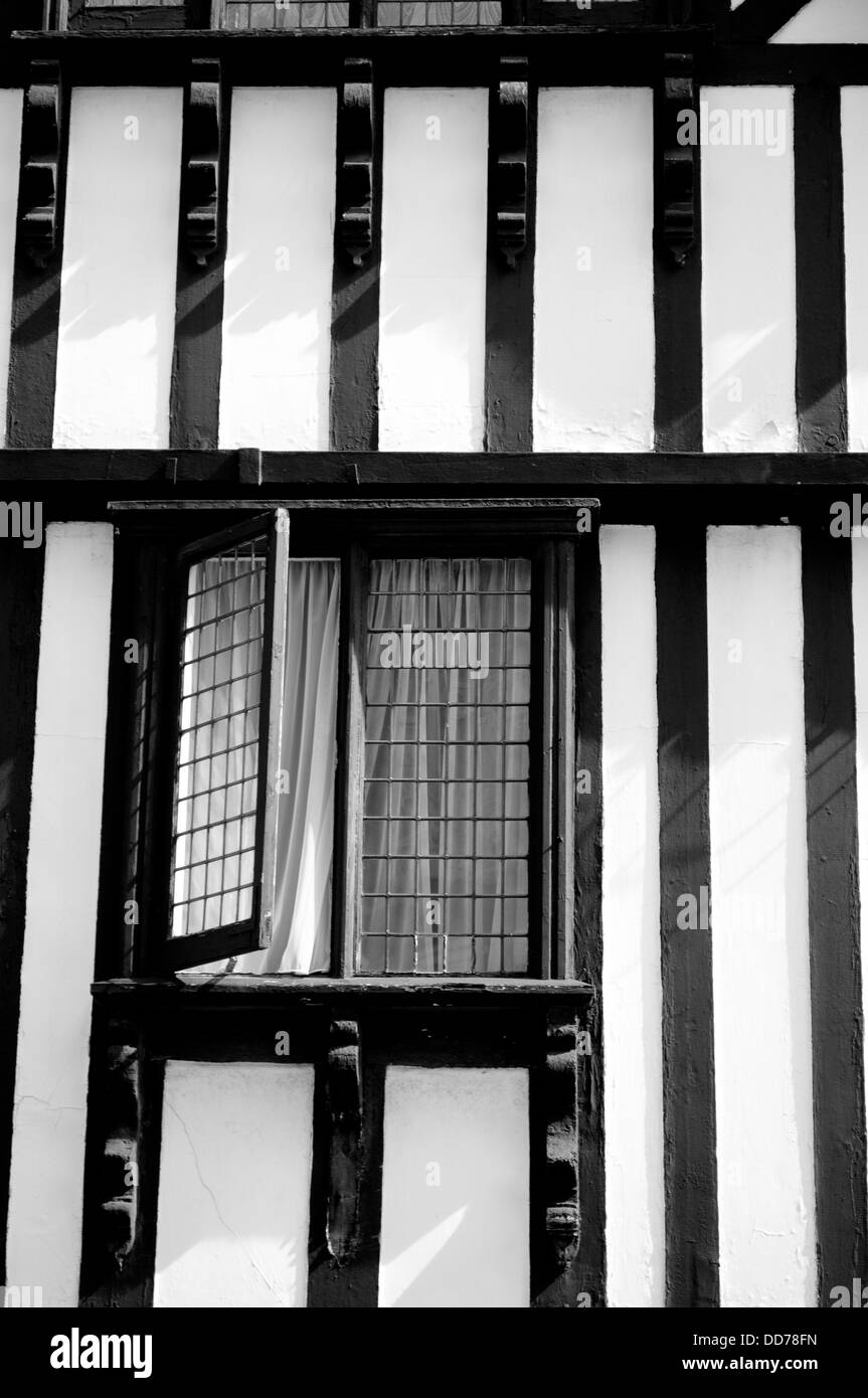 House detail with window in mock Tudor style, Chester, Cheshire, UK - Stock Image