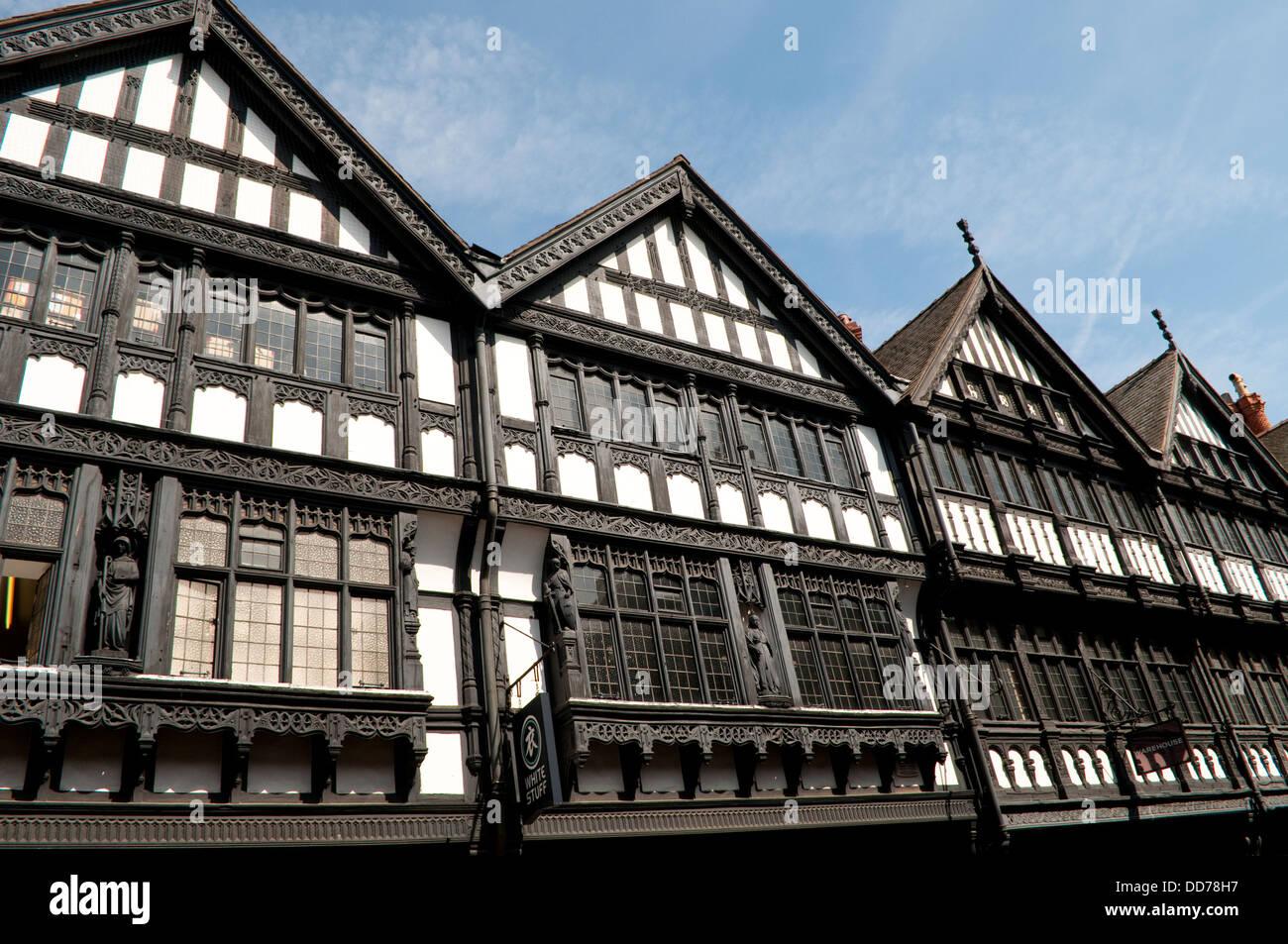 Historical mock Tudor houses, Eastgate Street, Chester, UK - Stock Image