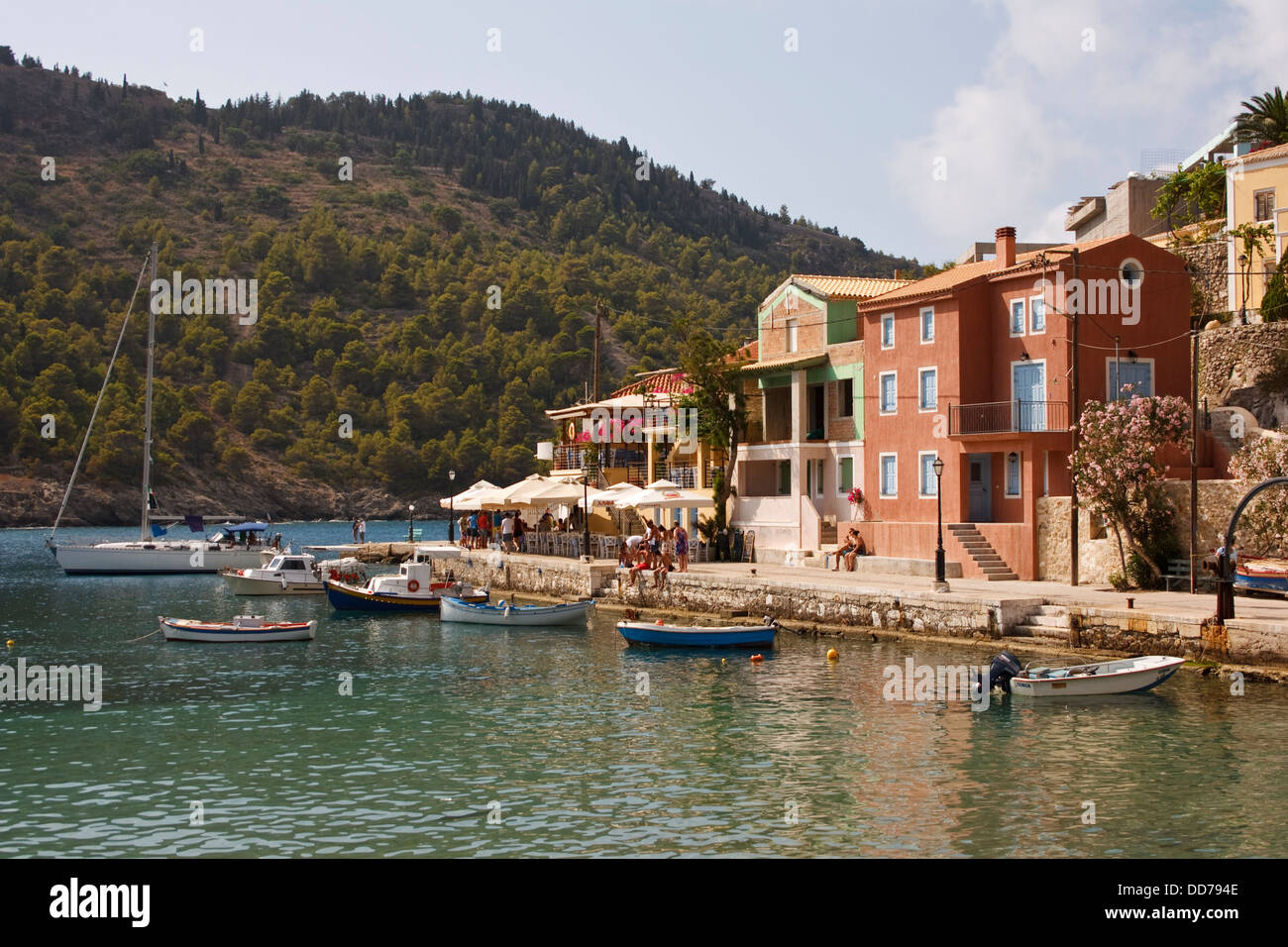 The harbour at Assos, on the Greek island of Kefalonia. - Stock Image