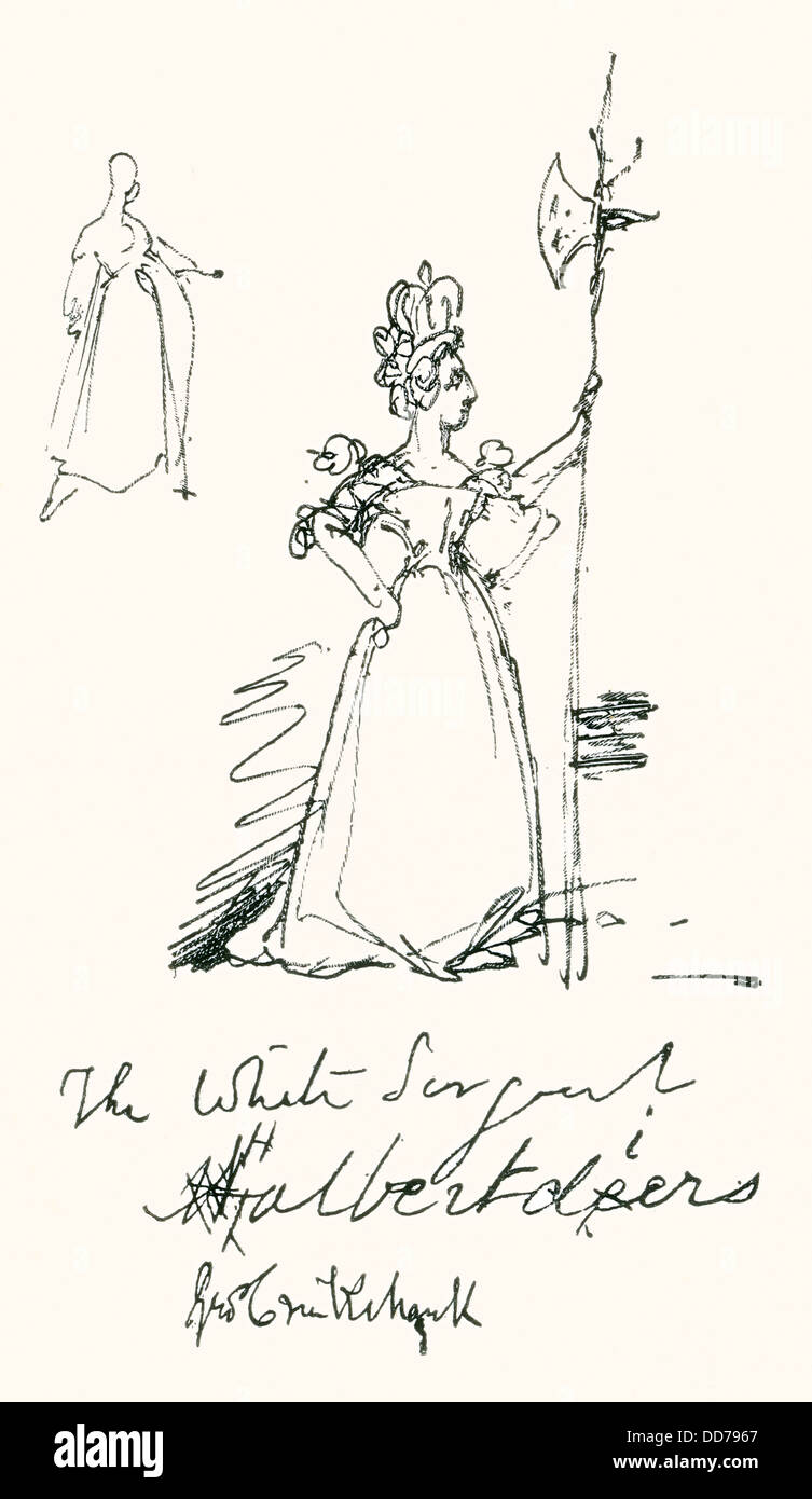 A sketch by Cruikshank of Queen Victoria as 'The White Sergeant Halbertdiers'. - Stock Image
