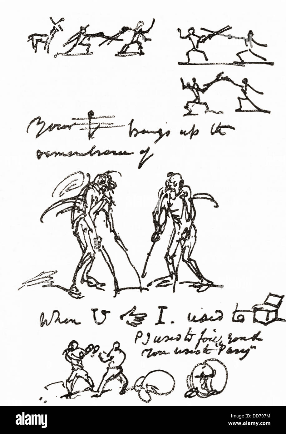 Hieroglyphic letter written by George Cruikshank to Mr. Parry. - Stock Image