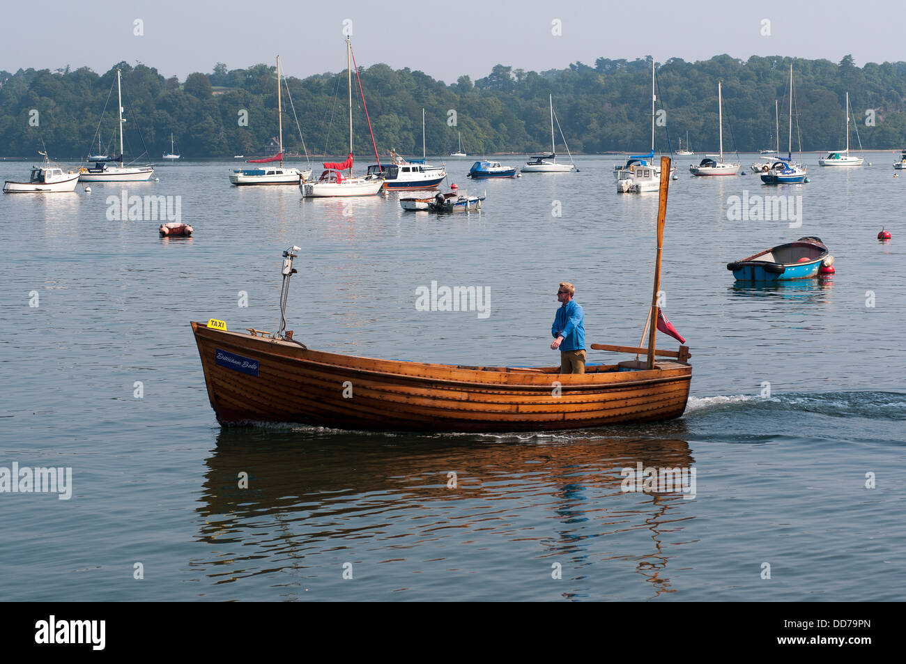 river dart ferry,river dart ferry,river,,devon,river  clinker, town, houses, rowing, river, dingy, tender, dinghy, - Stock Image