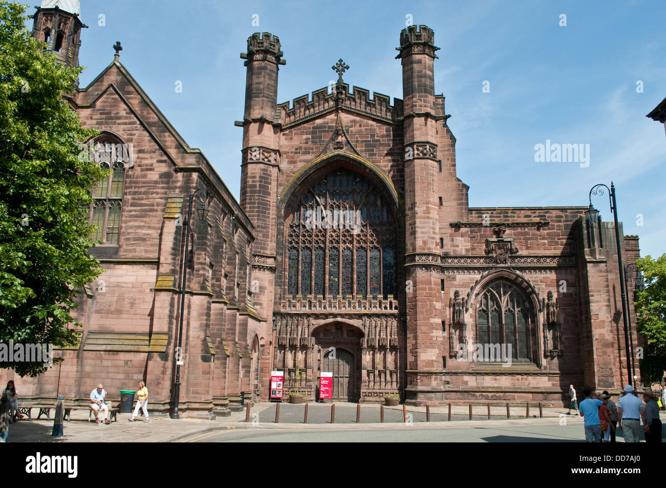 Chester Cathedral, The west front with recessed Perpendicular window and portal, Chester, UK - Stock Image