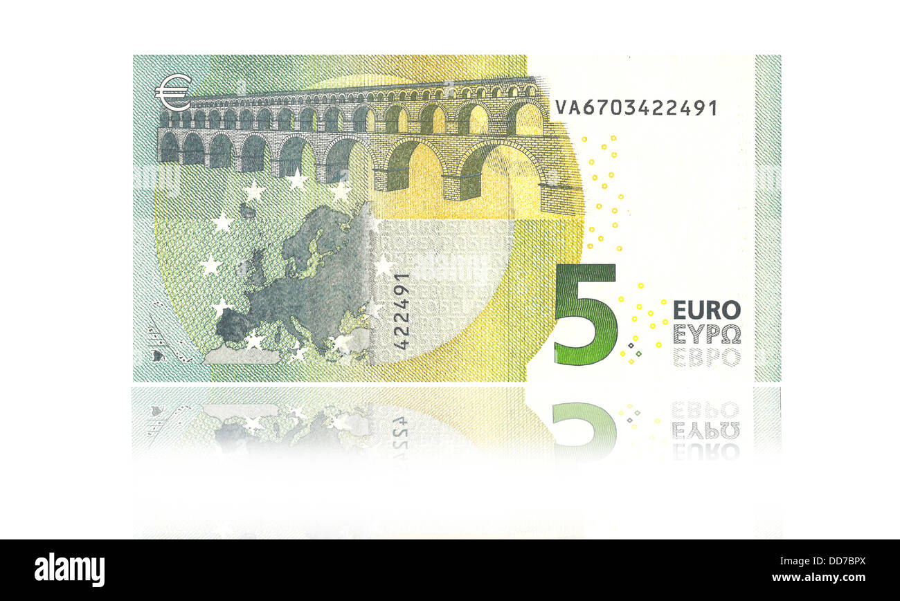 New 5 euro banknote against white background, close up - Stock Image
