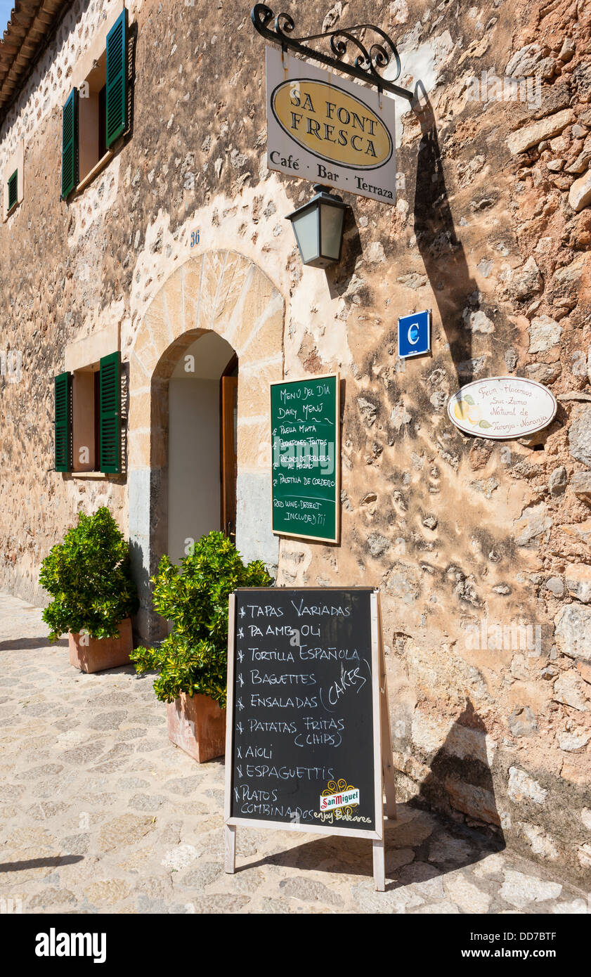 Spain Mallorca Menu Board Outside Cafe At Village Deia